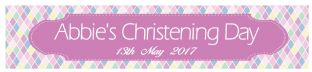 Pink Diamond Christening Banner